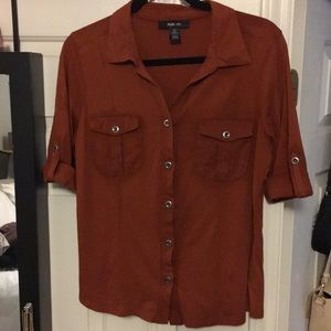 Style & Co safari style stretch button front top M
